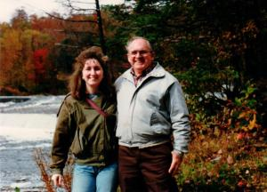 The author and her father at a river fishing spot in the late 1980's