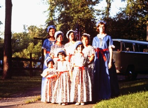 colonial dresses blurred