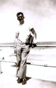 Pa at the ocean during Marine years